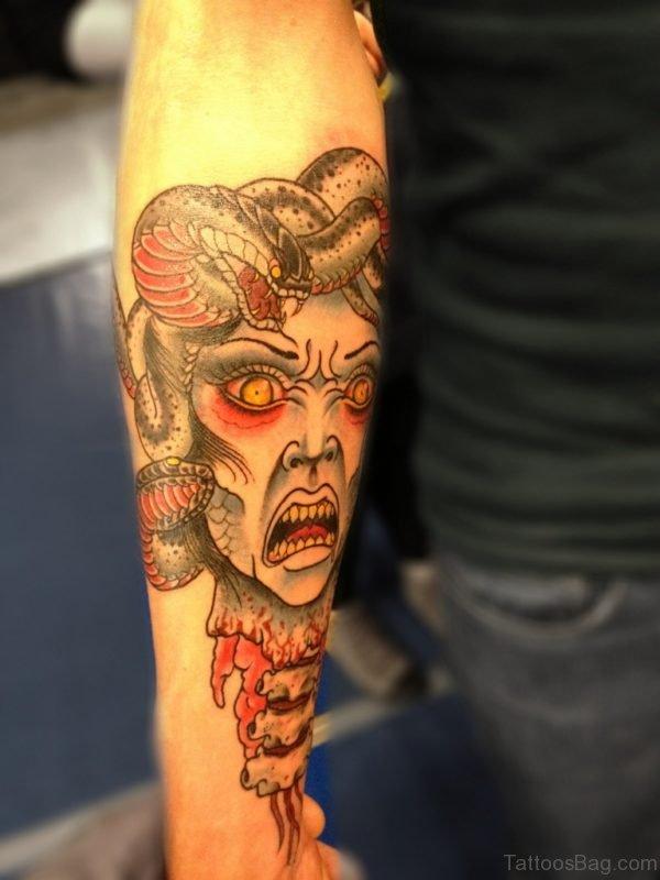 Bloody Medusa Tattoo On Arm