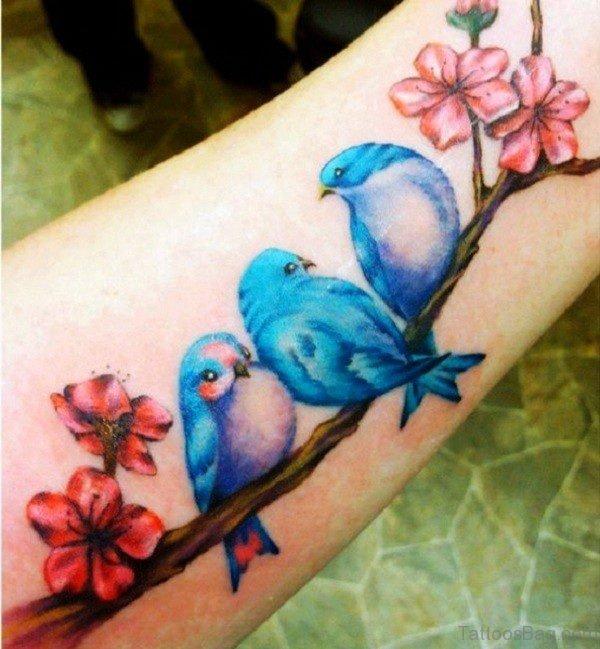 Blue Birds Tattoo On Wrist