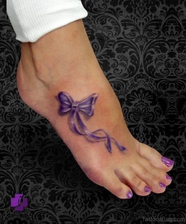 Blue Bow Ankle Tattoo