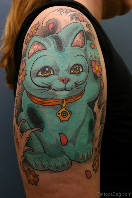 Blue Cat Shoulder Tattoo
