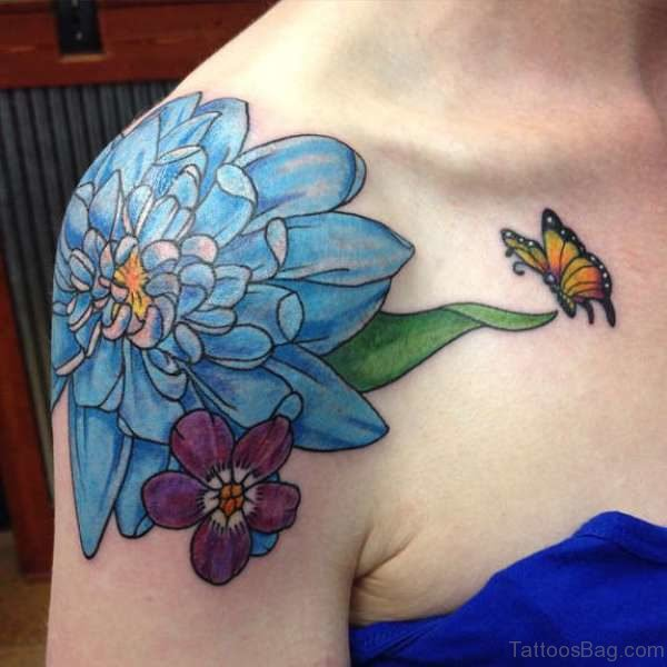 Blue Colored Shoulder Joint Tattoo
