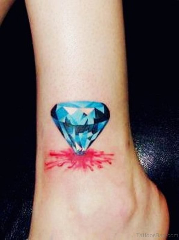 Blue Diamond Tattoo On Ankle