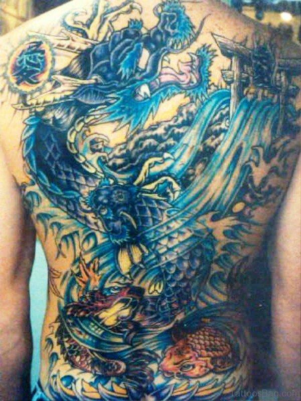 Blue Dragon Tattoo On Back