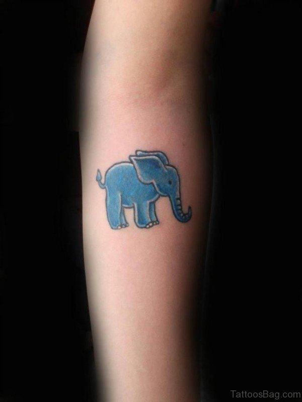 Blue Elephant Forearm Tattoo