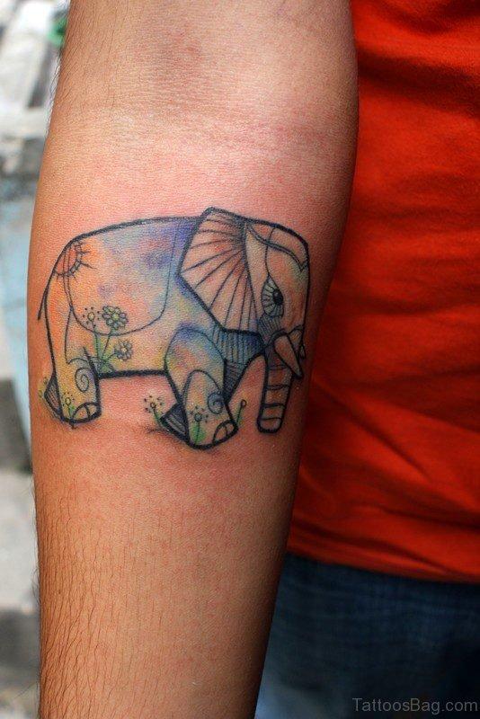 Blue Elephant Tattoo On Forearm