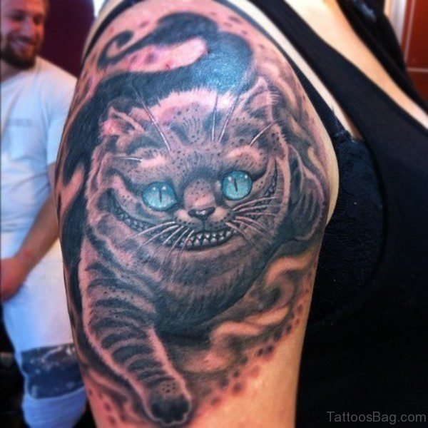 Blue Eye Cat Tattoo On Shoulder