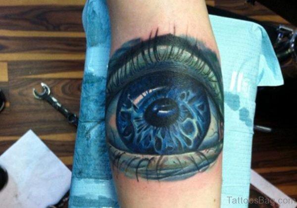 Blue Eye Tattoo On Leg