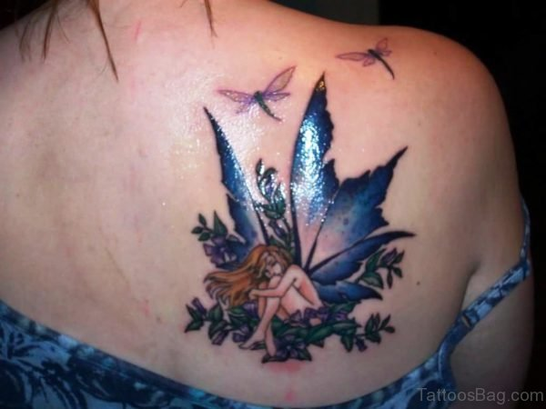 Blue Fairy Tattoo On Shoulder