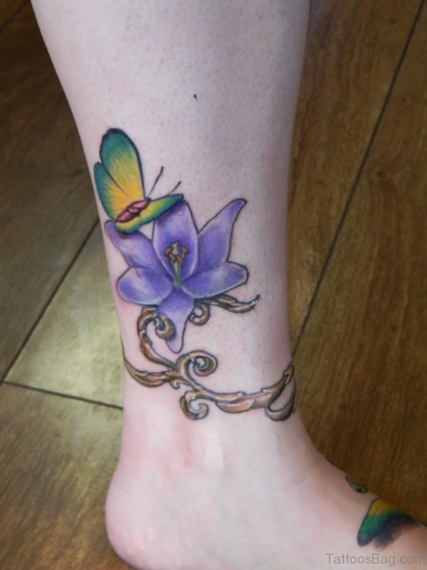 Blue Floral Tattoo On Ankle