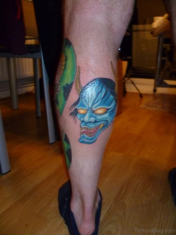 Blue Hannya Tattoo On Leg