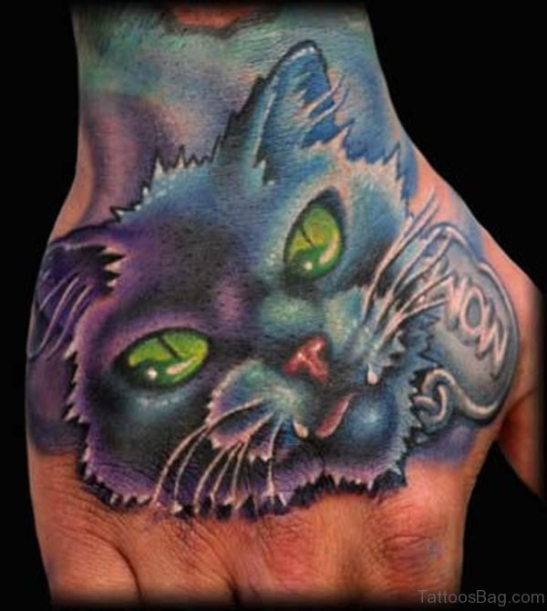 Blue Ink Cat Tattoo On Hand