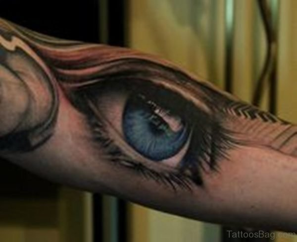 Blue Ink Eye Tattoo