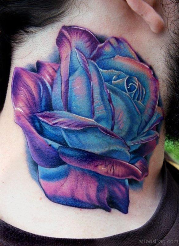 Blue Ink Rose Tattoo