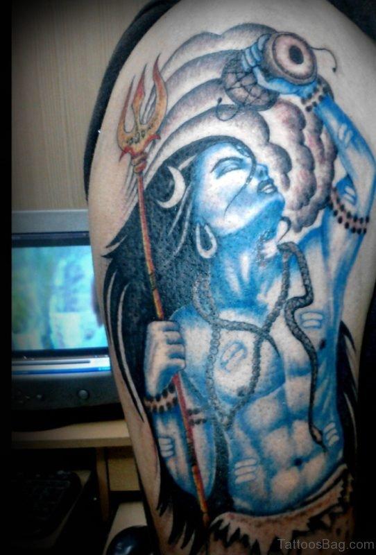 Blue Ink Shiva Tattoo