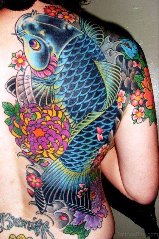 Blue Koi Fish Tattoo On Back