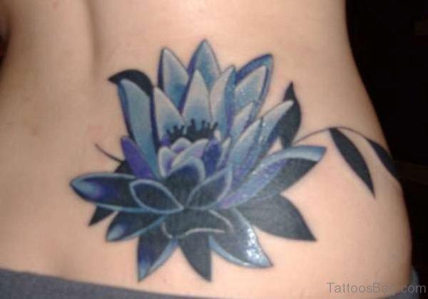 Blue Lotus Tattoo On Lower Back