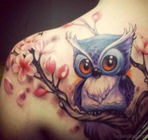 Blue Owl Tattoo On Left Shoulder
