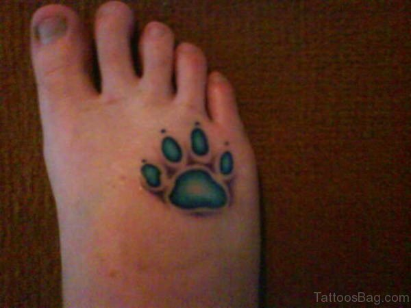 Blue Paw tattoo On Foot