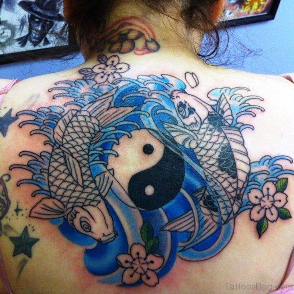 Blue Pisces Zodiac Tattoo On Back