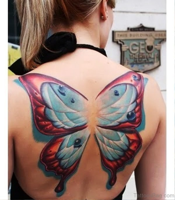Blue Red Butterfly Tattoo On Back