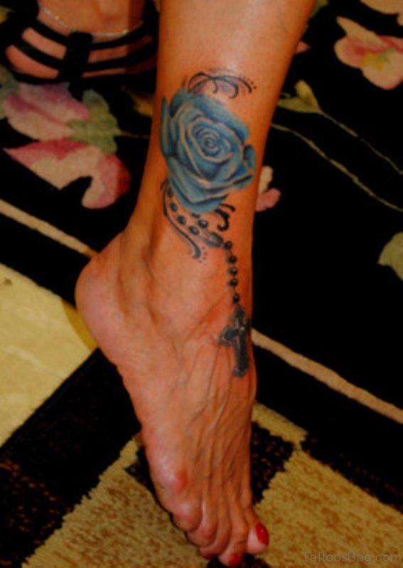 Blue Rose Rosary Tattoo
