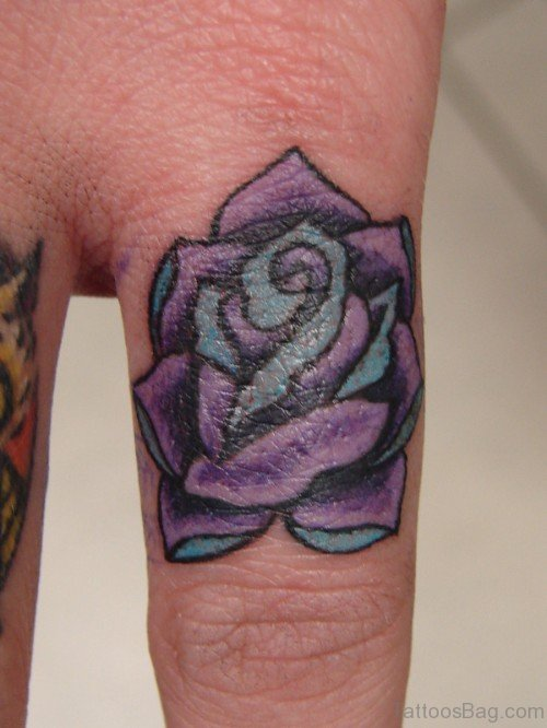 Blue Rose Tattoo On Flower