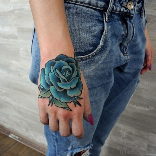Blue Rose Tattoo On Hand For Women