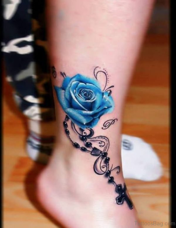 Blue Rose With Rosary Cross Tattoo