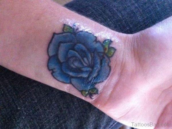 Blue Rose Wrist Tattoo