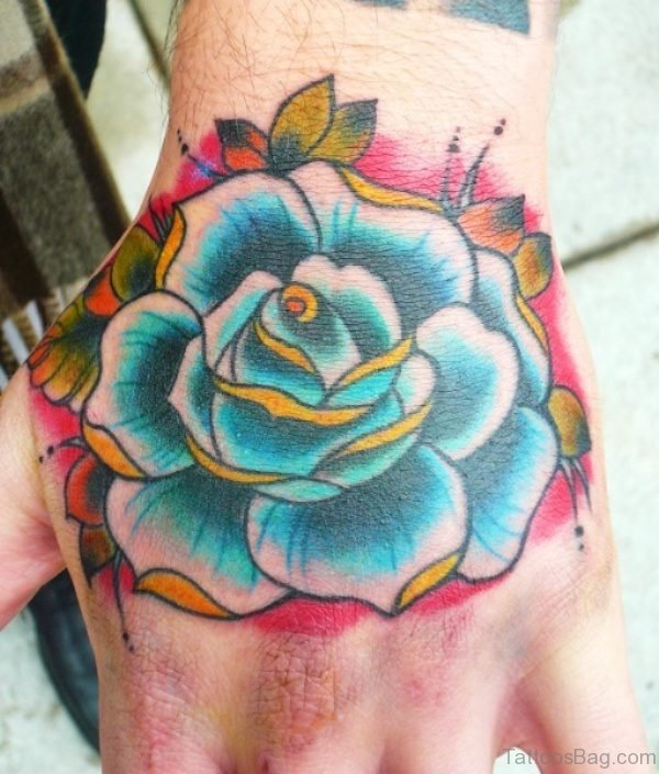 Blue Shade Rose Tattoo On Hand