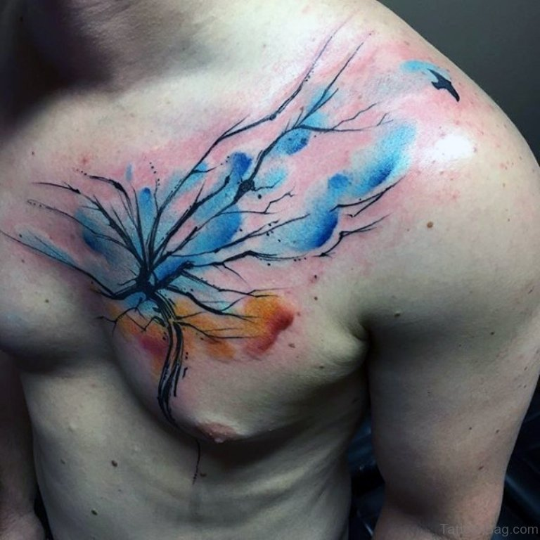 64 mind blowing tree tattoos for chest. Black Bedroom Furniture Sets. Home Design Ideas