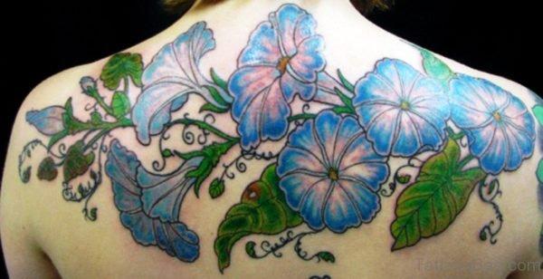 Blue White Vine Tattoo On Back