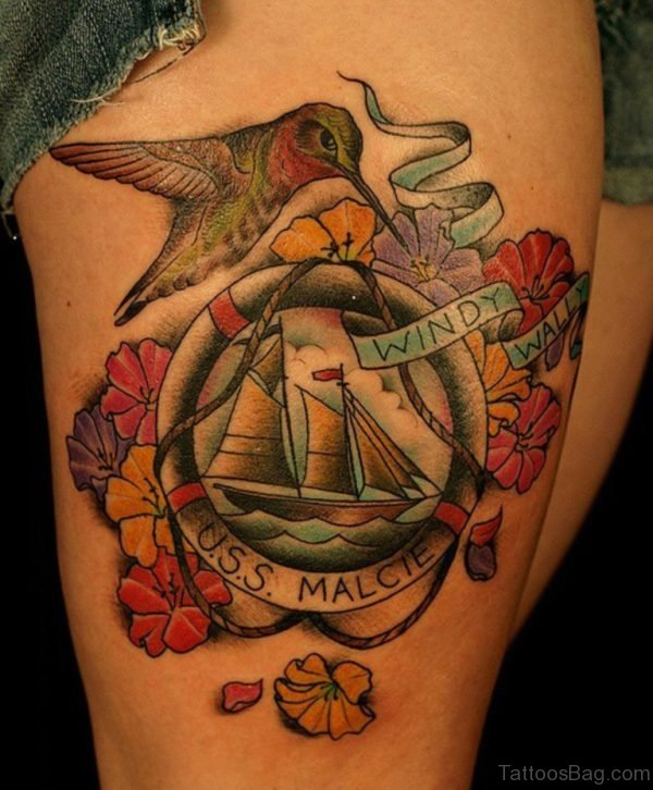 Boat And Bird Tattoo On Thigh