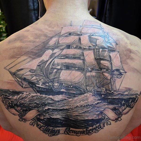 Boat Tattoo Design On Back