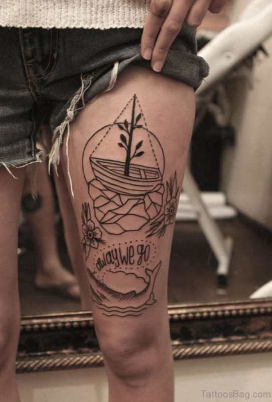 Boat Tattoo Design On Thigh