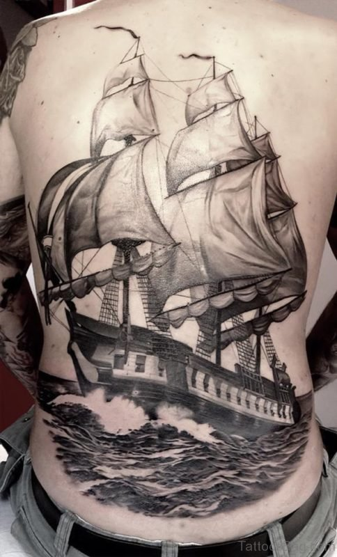 Boat Tattoo On Full Back