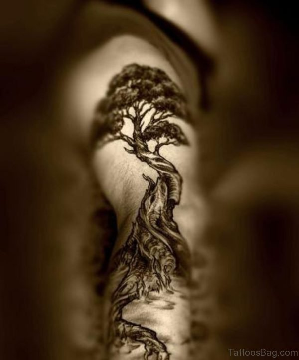 Bonsai Tree Tattoo On Rib Side