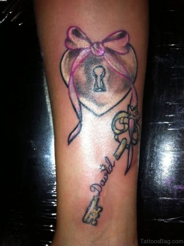 Bow Lock And Key Tattoo