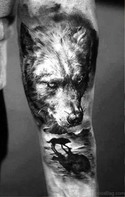 Brilliant Alpha Wolf Tattoo On Arm