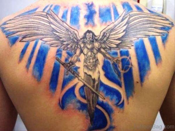 Brilliant Archangel Tattoo On Back