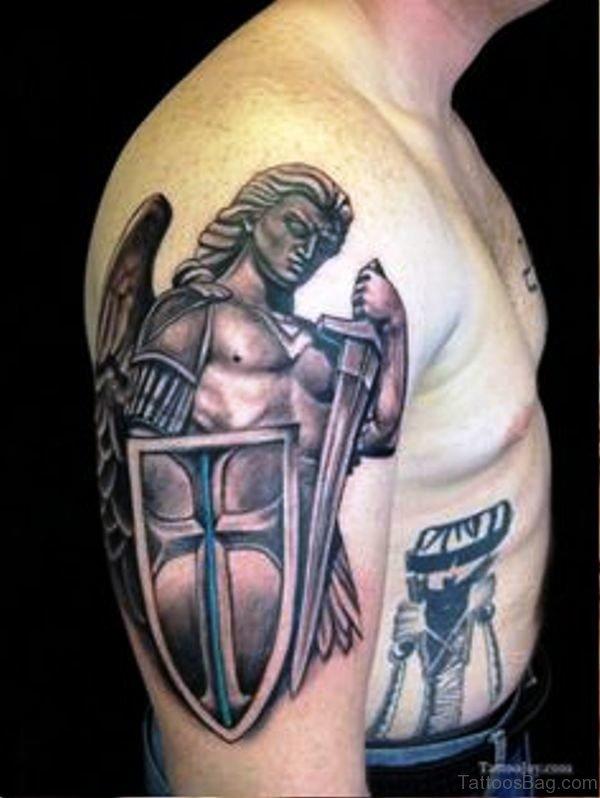 Brilliant Archangel Tattoo On Shoulder