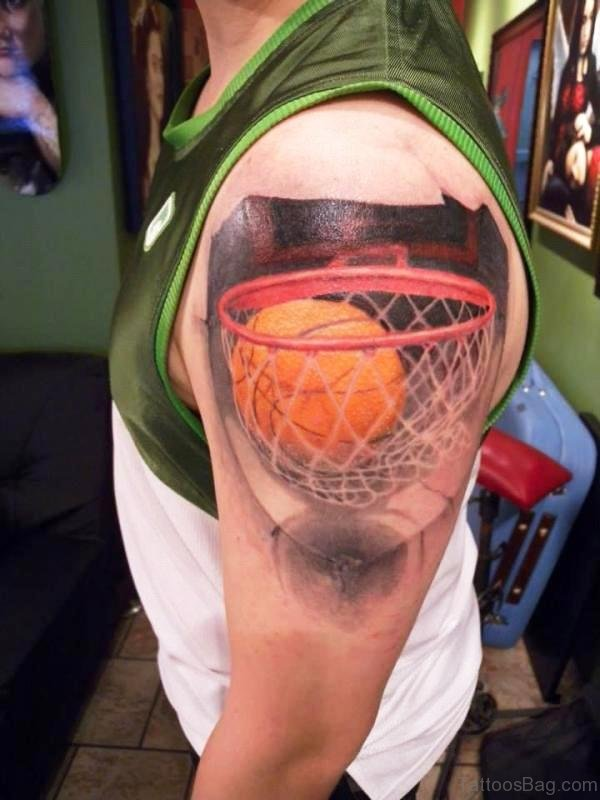 Brilliant Basketball Tattoo On Shoulder