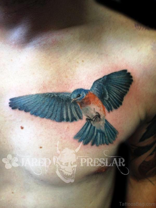 Brilliant Blue Bird Tattoo On Chest