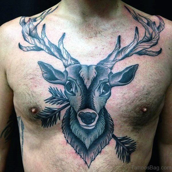 Brilliant Buck Tattoo On Chest