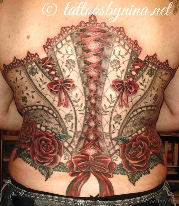 Brilliant Corset Tattoo On Back