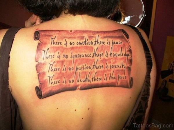 Brilliant Scroll Tattoo On Back