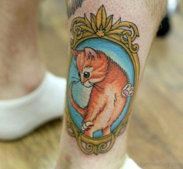 Brown Cat Tattoo On Leg