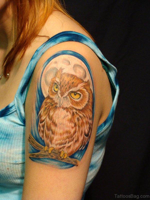 Brown Owl Tattoo On Shoulder