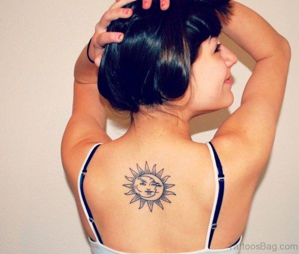 Brown Sun And Moon Tattoo