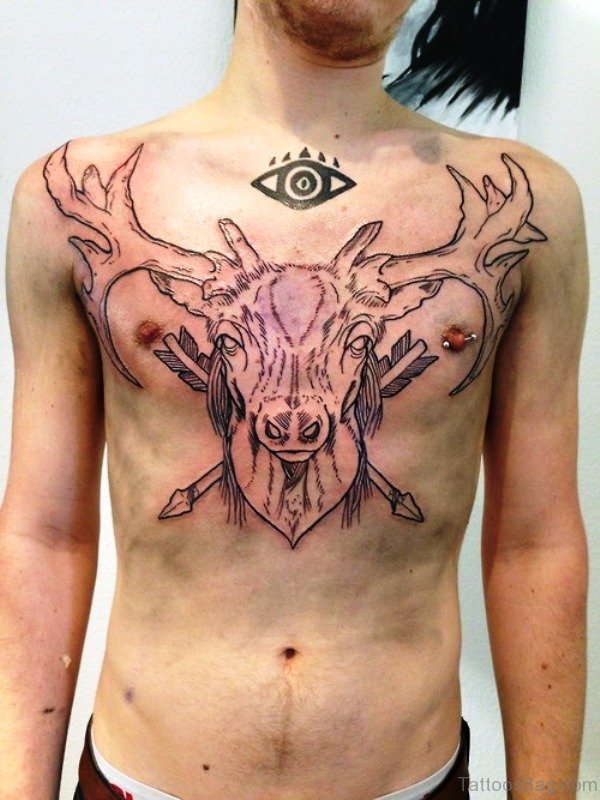 Buck And Eye Tattoo On Chest